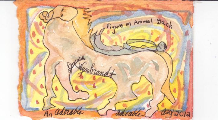 figure on animal back, earth air and water beings 001